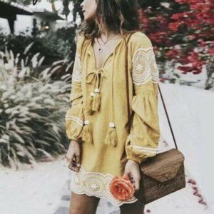 Embroidered Tassel Tunic Dress